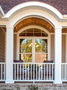 Front porch detail from the Lennon Plan 1300 http://www.dongardner.com/plan_details.aspx?pid=4411 Cathedral and tray ceilings in the living spaces give this home a spacious feel, with French doors and large windows facing the rear of the home. #OldWorld #Craftsman #House #Design