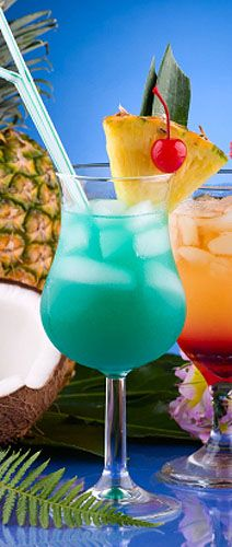 Blue Hawaiian  • 1 oz. of a Light Rum (Cruzan, Bacardi, etc.)  • 2 oz. of Pineapple Juice  • 1 oz. Blue Curacao (DeKuyper, Hiram Walker, Alize, Monin, etc.)  • 1 oz. of Creme de Coconut (Coco Lopez Creme De Coconut)  • 1 slice of Pineapple (Garnish)  • 1 Cherry (Garnish)