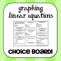 9 different tasks for students to choose from to show their understanding of slope and graphing linear equations.