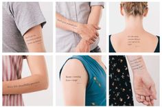 Awesome literary temporary tattoos using words from classic books.