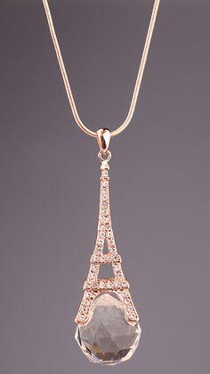 Gold Diamond Eiffel Tower Necklace