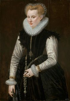 Museum of Fine Arts, Boston - Portrait of a Woman with a pomander on a chain - 1581      Frans Pourbus, the Elder, Netherlandish, 1545–1581    Dimensions  142.9 x 78.4 cm (56 1/4 x 30 7/8 in.)  Oil on panel