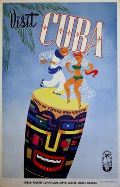 Visit Cuba, 1950s - original vintage poster listed on AntikBar.co.uk