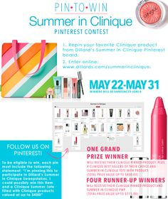 """Pin to Win your Summer in Clinique Tote! Which product from our """"Summer in Clinique"""" board would you PIN to Get this Summer Tote with best selling products? Enter now for your chance to WIN your PIN plus the Clinique Summer Tote. One lucky grand prize winner will get their choice of 4 additional best selling products to add to the Summer collection!"""