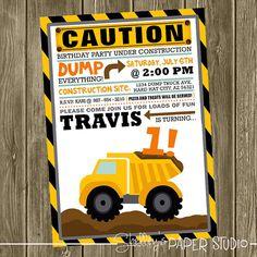 Construction Birthday Party Invite on Etsy, $15.00