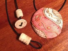 Polymer clay necklace made by Nee Nee Ree inspired by Sylvie Peraud