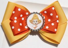 Yellow and Orange Polka Dot Guppies Inspired Hair Bow by bowsforme, $6.99