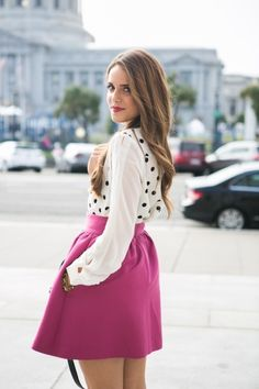 Modern tea time ensemble. outfits, full skirts, polka dots, polkadot, street styles, skater skirts, pink fashion, bold colors, shirt