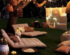movie theaters, under the stars, dream, backyard parties, theatr, outdoor theater, movie nights, pottery barn, movie party