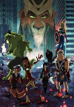 This pic is awesome!! Cuzco as Iron Man, Beast as Hulk, Hercules as Thor, Robin Hood as Hawkeye, Mulan as Black Widow, Aurora as Captain America and Scar as Loki!!