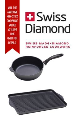 WIN an amazing 2 piece set of non-stick @Breanna Veltkamp Diamond cookware valued at $344! Link over for details! #giveaway #cookware #swissdiamond