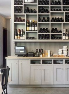 beautiful kitchen wine storage/display