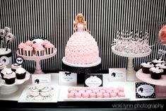 Black, white & pink barbie party