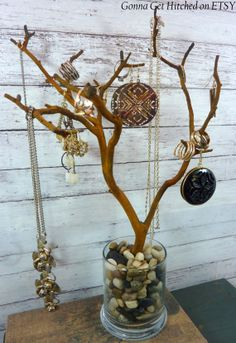 like the idea! will make one with black chalk paint  and white stones. #idea #diy #tree #jewellery #display