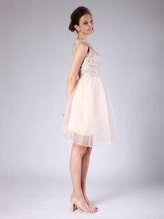 Lace Organza Bridesmaid Dress  A-line/Princess,Above the Knee,Bateau,Natural,Sleeveless,Lace,Zipper,Lace,Organza,Spring,Summer,