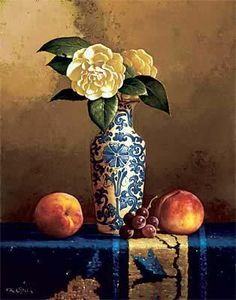 Camellia with Oriental Rug by Loran Speck