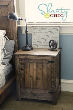 DIY end tables (Pottery Barn/Restoration Hardware style).  Requires minimal woodworking skill. restoration hardware, nightstand, pallet, boy rooms, end tables, bedside tables, night stands, rustic wood, bedroom