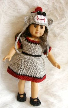 American Girl sock monkey crochet pattern..how cute is this?