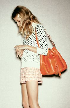 mixed prints with orange tote