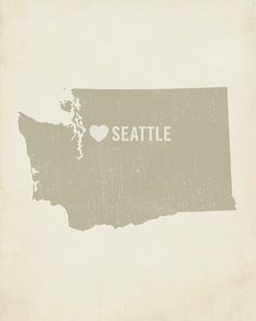 I Love Seattle 8x10 Wood Block Art Print
