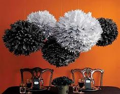halloween decorations, halloween parties, ball, paper pom poms, halloween party decor, halloween weddings, apartments, black, paper decorations