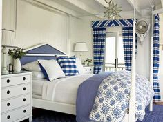 interior design, home interiors, modern interior, design interiors, blue bedrooms, white bedrooms, coastal living, nautical bedroom, coastal bedrooms