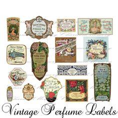 vintage perfume labels