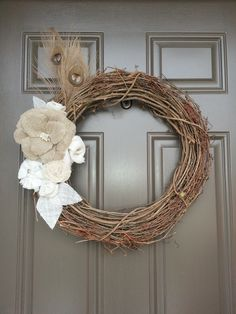 My burlap and grapevine wreath