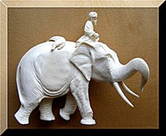 Ivory Figurine carving Indian Elephant Pre Ban Maharajah Hunter Lion Trophy 1910s by EuropeanGoodies, $1298.00  @Etsy