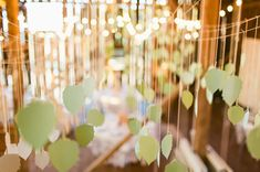 hanging paper leaves over the reception