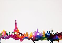 Paris In Watercolor Art Print    @Saundra Deppa Deppa Popejoy We should totally make one of these!! One for you and one for me! :D