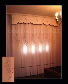 Visillo de cocina bordado con fest n y vainica - Visillos cocina confeccionados ...