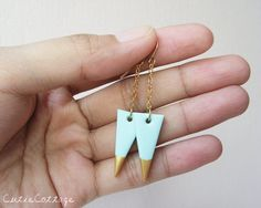 Mint - Gold Dipped Triangle Drop Earrings