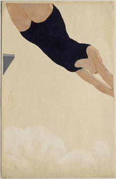 Kōshirō Onchi ~ Diving, 1932 (woodblock)