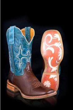 Women's Blue Exotic Girl Classic Tin Haul Ladies Boots Western Clothing