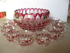 Indiana Glass Pattern 1007 Cranberry Stain Leaf Punch Bowl Set (12 Cups) #teamsellit #bonanza