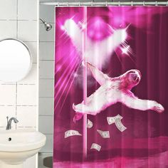 showers, sloths, stripper sloth, sloth shower curtain, funny shower curtain