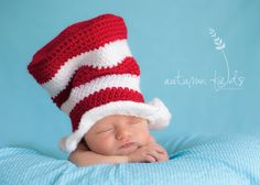 Inspired The Cat In The Hat Hat and Matching Bow Tie  Newborn Thru 6 Months size available. $35.00, via Etsy.