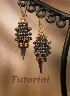 * Tutorial for Lantern Beadwoven Earrings with Czech Glass Spike Beads. $7.00, via Etsy.