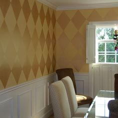 Harlequin diamond pattern finish created with Modern Masters Gold Rush Metallic Paint | Project by Amie Freling of Meme Hill Studio