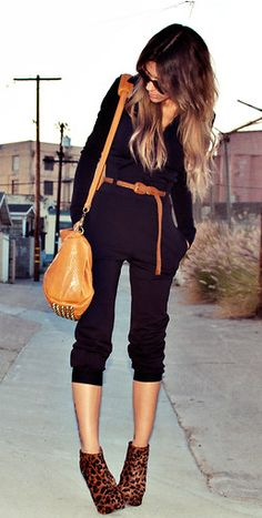 cheetah, fashion, black wedge booties outfit, jumpsuits outfits, outfits with leopard shoes, jumpsuit and heels, leopard booties outfit, black jumpsuit outfit, jumper