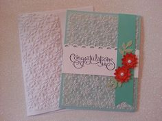 Wedding card, embossed vellum and envelope to.match.