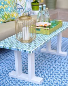 mosaic tile table bench - I LOVE THIS