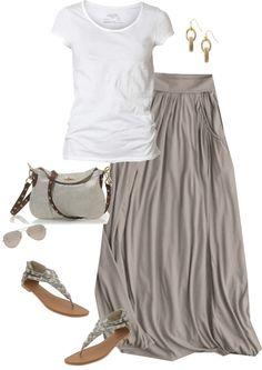 summer styles, pocket, summer looks, white shirts, long skirts