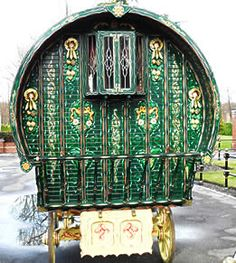 Predominantly green exterior decoration on caravan