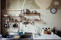 Above: Copper pipe shelving in the home of Magnus Reed, via Freunde von Freunden.