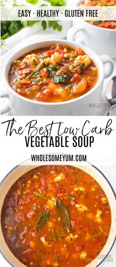 The Best Keto Low Carb Vegetable Soup Recipe - The best vegetable soup recipe ever, ready in 30 minutes! If you want to know how to make healthy vegetable soup, keto vegetable soup, low carb vegetable soup, or paleo vegetable soup... this one checks all the boxes. #wholesomeyum #vegetablesoup #soup #lowcarb #lowcarbrecipes #keto #ketorecipes #paleo #paleorecipes #veggies