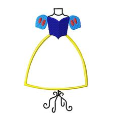 Snow White Dress Form embroidery applique fill by stitchtastical, $3.50