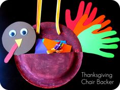 """""""Thanksgiving Chair Backer"""" - These thanksgiving turkey projects are made using paper plates, construction paper, and wiggly eyes.  With this fun design idea, there is a pocket area and I would have students draw pictures of things that they are thankful for and place them in the pocket.  These projects would make a cute 3D Thanksgiving bulletin board display."""