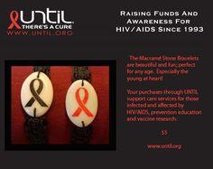 Macrame AIDS Ribbon Bracelets $5